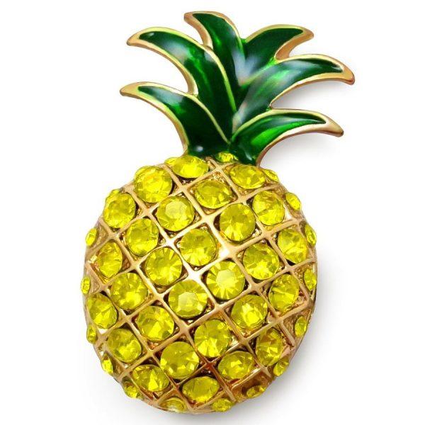 Брошь в виде желтого ананаса со стразами