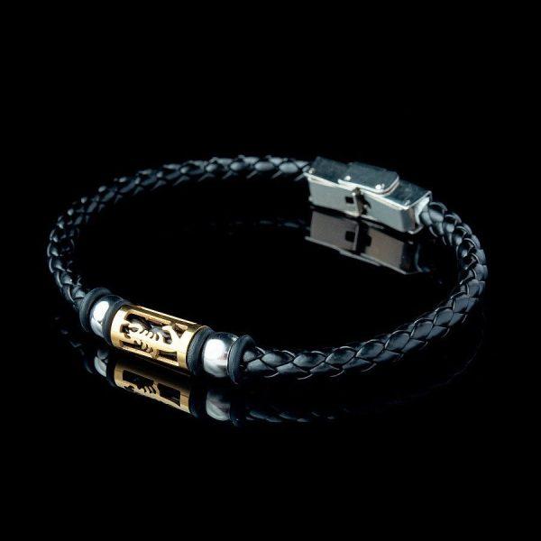Плетеный кожаный браслет на руку со скорпионом