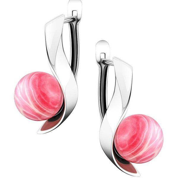 Серебристые серьги с розовым камнем