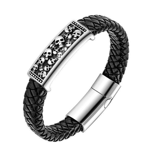 Брутальный плетеный браслет из кожи со стальным элементом с черепами