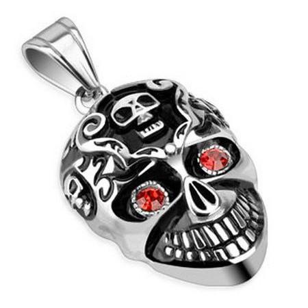 Подвеска в виде злого черепа серебристого цвета