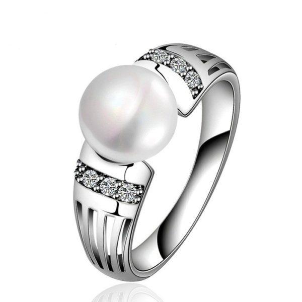 Серебряной женское кольцо с жемчужиной