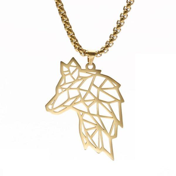 Кулон Волк золотого цвета