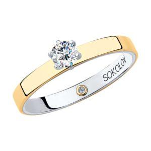 Помолвочное кольцо Соколов из белого и желтого золота