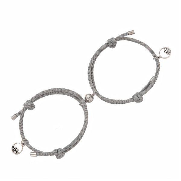 Серые браслеты на руку для влюбленных с магнитом