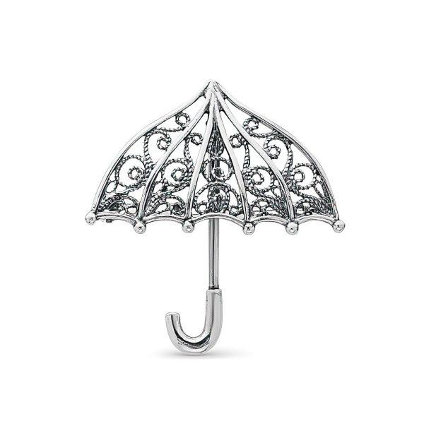Брошь зонтик серебристая женская красивая