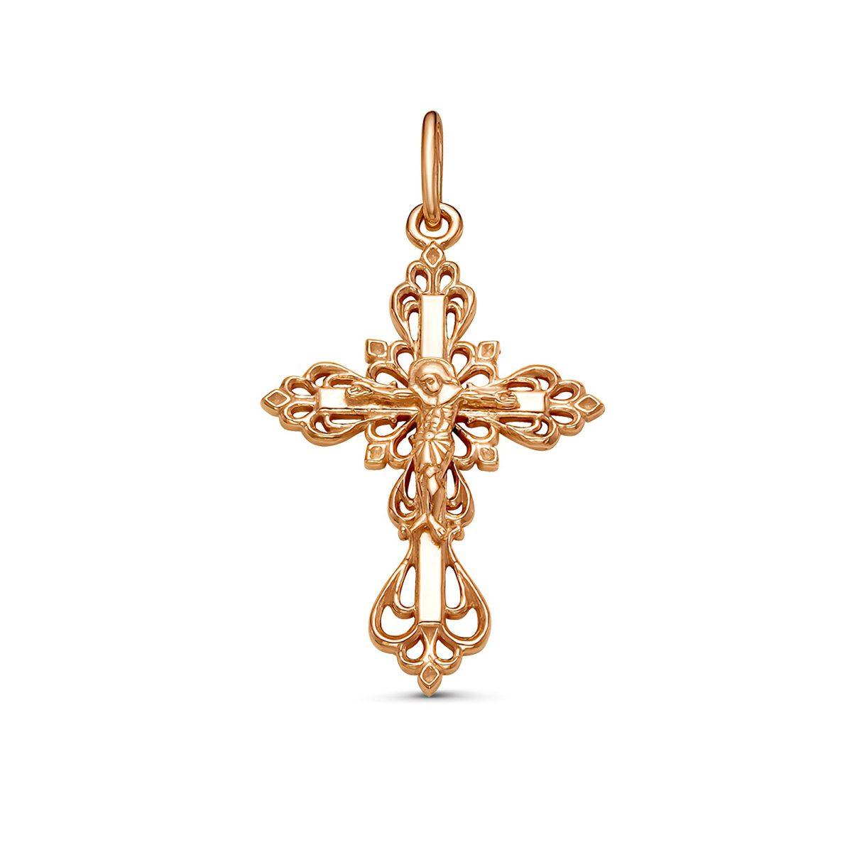 Крестик на шею золотистый