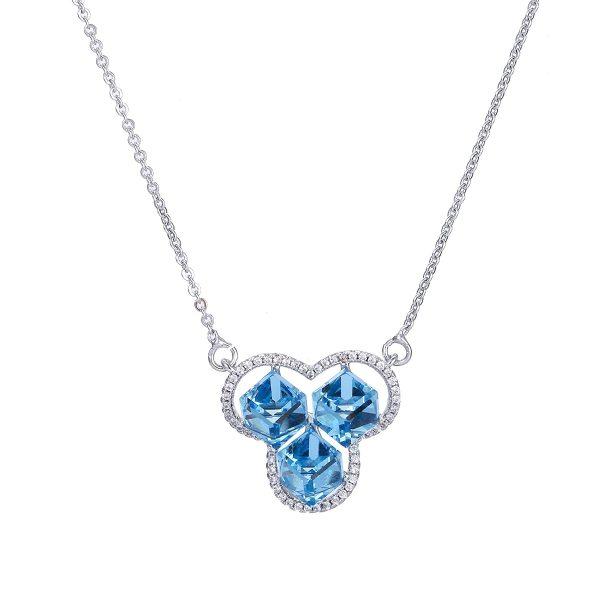 Кулон с голубыми кристаллами Сваровски
