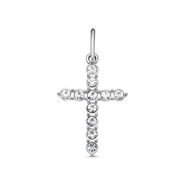 Подвеска серебристый женский крестик с кристаллами