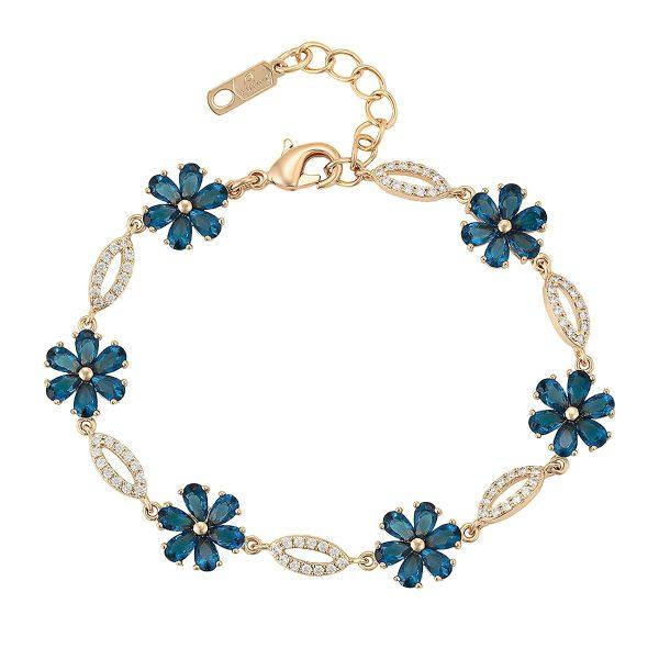 Стильный женский браслет с синими кристаллами