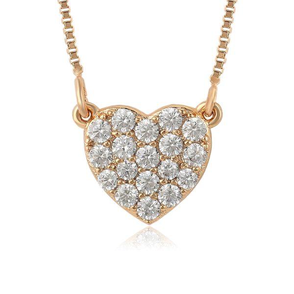 Золотистый кулон Сердце с кристаллами