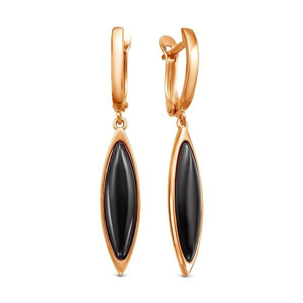 Длинные золотистые серьги со вставкой из чёрного ювелирного стекла
