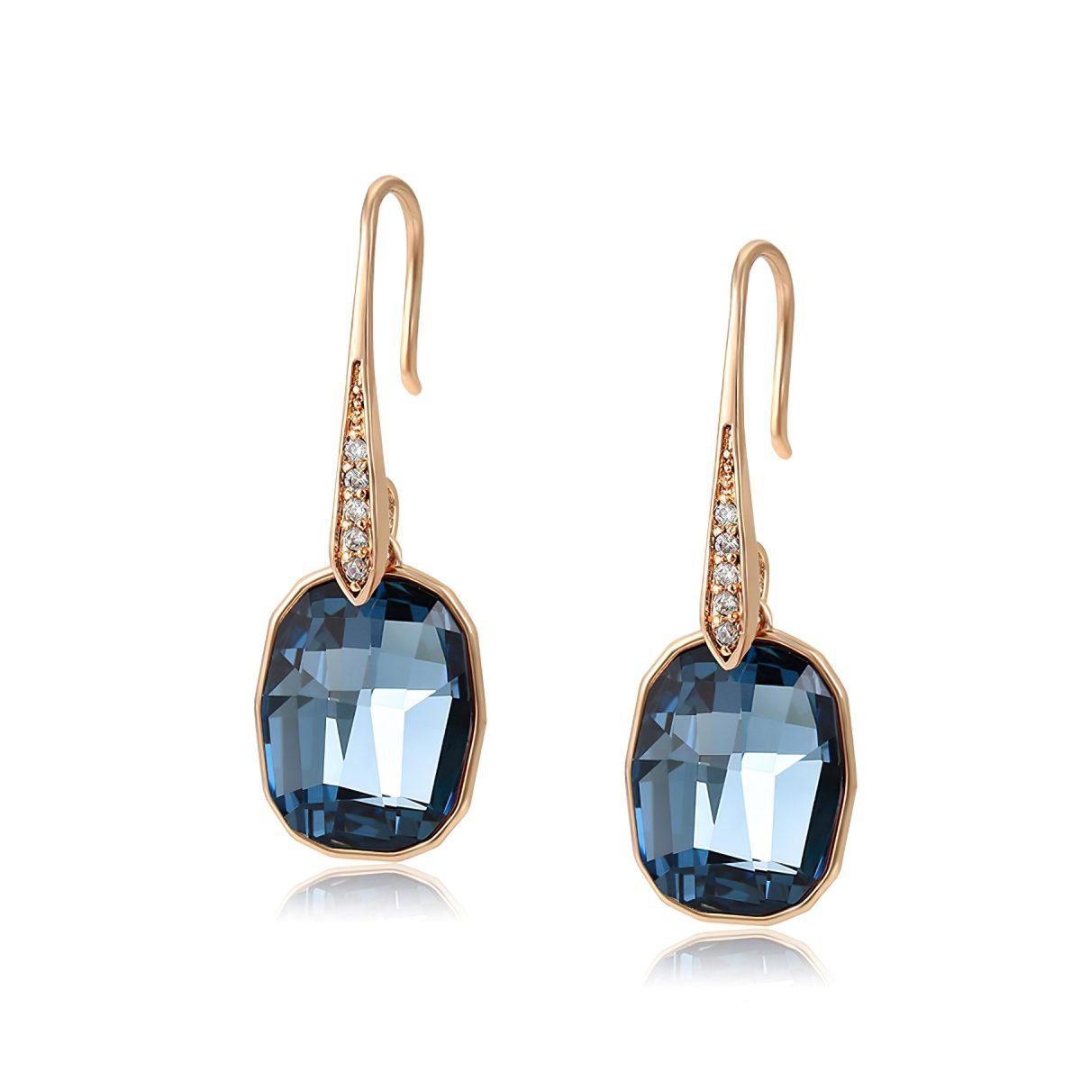 Серьги с тёмно-синими кристаллами