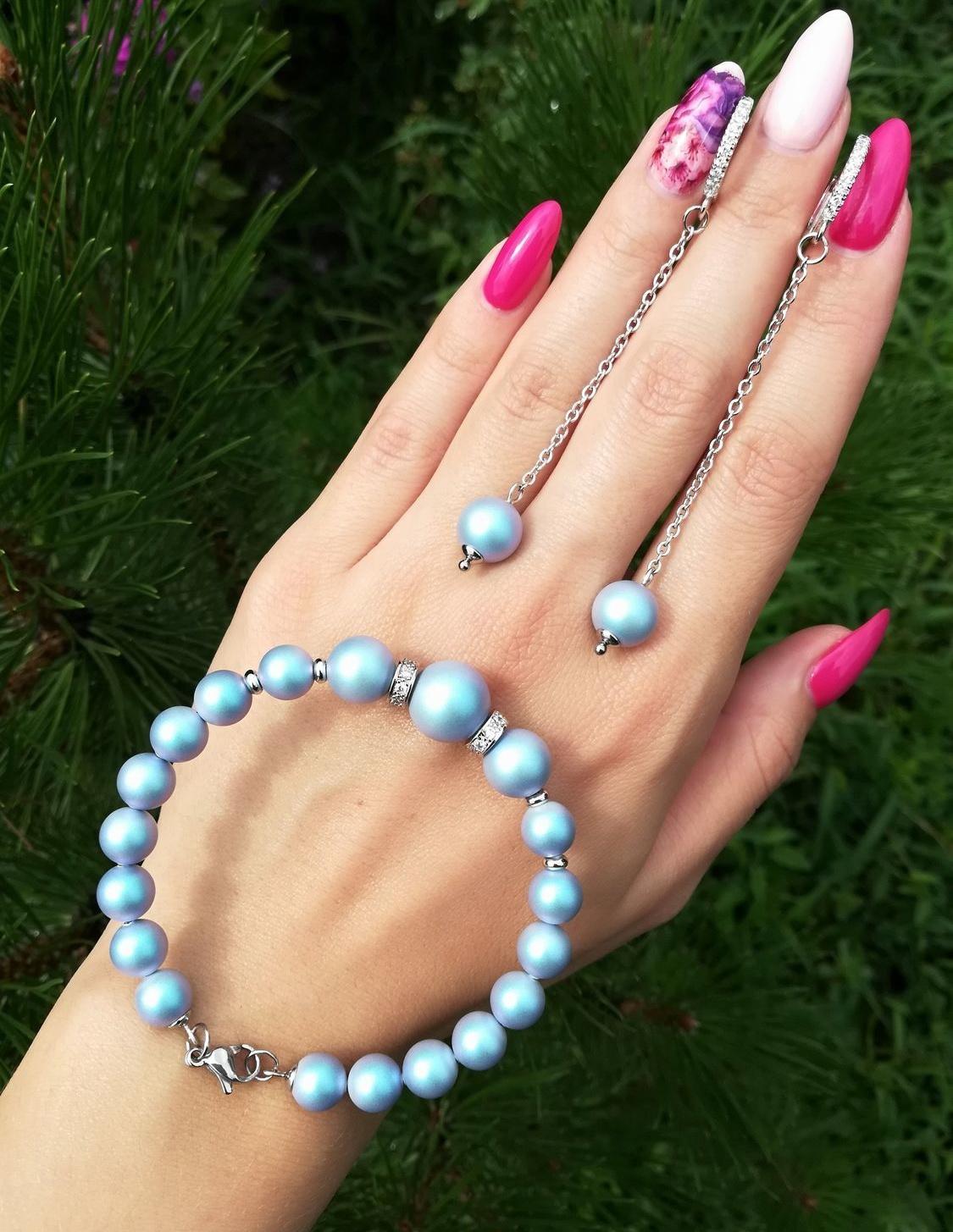 Серьги с браслет на руку из голубого жемчуга Сваровски