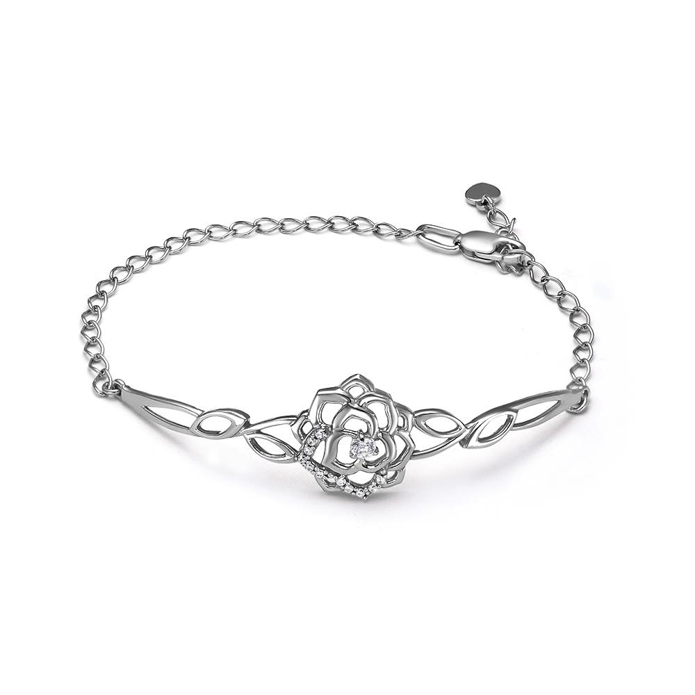 Серебристый женский браслет цветок